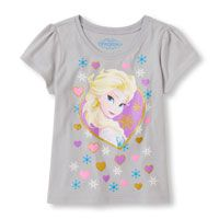 Toddler Girl's Short Sleeve Frozen Elsa Glitter Graphic Tee