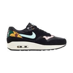Nike 'Air Max 1 Print' Sneaker ($110) ❤ liked on Polyvore featuring shoes, sneakers, nike, nike sneakers, flower print sneakers, lace up shoes, floral pattern shoes and leather shoes