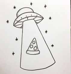 Pizza UFO tattoo design by Maddie Cade @mcadeart