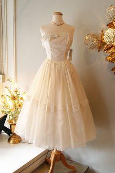 1950's Wedding Dress // Vintage 50s Swiss Dot Chiffon Wedding Dress