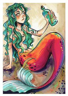 Mermaid by Gretel Lusky Siren Mermaid, Mermaid Art, Manga Mermaid, Tattoo Mermaid, Vintage Mermaid, Fantasy Mermaids, Mermaids And Mermen, Art Vampire, Vampire Knight