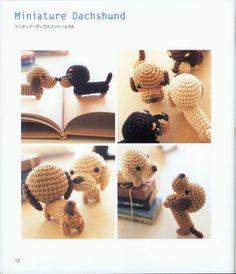 crocheted dachshund pattern, amigurumi crochet dog pattern by LibraryPatterns Crochet Pattern Free, Crochet Dog Patterns, Cute Crochet, Knit Art, Crochet Books, Crochet Animals, Diy Crafts For Kids, Fabric Crafts, Handmade Gifts
