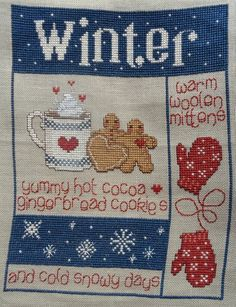 COMPLETED SAMPLER - IT's WINTER! by SUE HILLIS DESIGNS - WARM YOU UP!!!