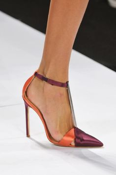 CAROLINA HERRERA | Orange & Brown Ankle Strap Sandals NY Spring 2014 |= (ACCESSORIES SHOW)