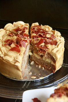 Banana Peanut Butter Cake with Bacon Shards (a.k.a The Elvis Cake)