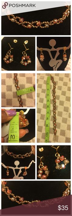 """""""Simply Gorgeous"""" Handmade beaded Choker Set """"Simply Gorgeous"""" Handmade beaded choker and matching earrings. Great size for little girls. Color is brown. New and Never been used. See measurements in photos attached here. Gold tone hardware. No hold and no trade. Handmade Jewelry Necklaces"""