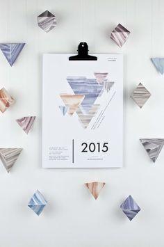 """Wandkalender - SALE – Kalender 2015 – """"Geometrie"""" DIY - ein Designerstück von hinzhej bei DaWanda"""