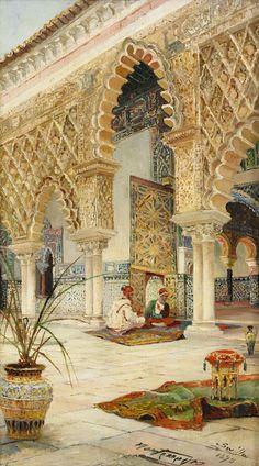 Oriental Backyard with Moors in Conversation - Sevilla, José Montenegro Capell