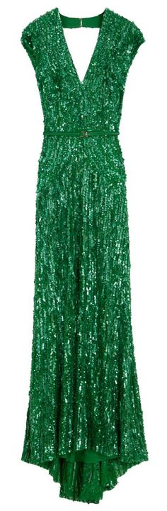 Elie Saab Emerald Green Sequin Long Dress