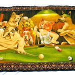 Dogs playing pool tapestry wall hangings photo