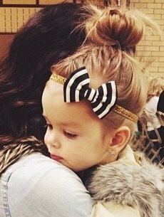 Baby Bow Headband Black and white stripe bow on Gold Glitter Elastic