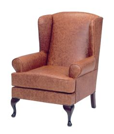 Queen Anne chair in leather, Wesley-Barrell