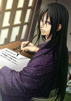 Hajime inspiration, hair down, writing a report. (Toshizou Hijikata)