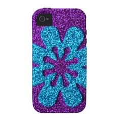 Purple & Blue Glitter Retro Flower iPhone 4/4S Cases -- my two fave colors in one!!