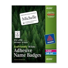 Avery White EcoFriendly Name Badges 2.33 x 3.375 Inches Box of 400 (45395) #Avery