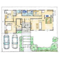 【SUUMO】平屋30坪 中央に玄関がある2LDK   注文住宅