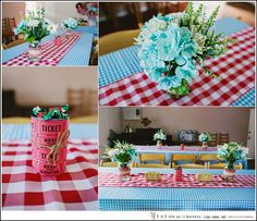 """Holden County Fair""- Aqua and Red Country Fair Themed 2nd Birthday Party. Mason jar centerpieces, fair ticket covered cans and mini hay bales."