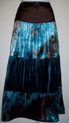 """Satin Velvet 4 Tier Tie Dye Skirt 30"""" W Maxi Studs Brown Teal BoHo Speechless #speechless #PeasantBoho"""