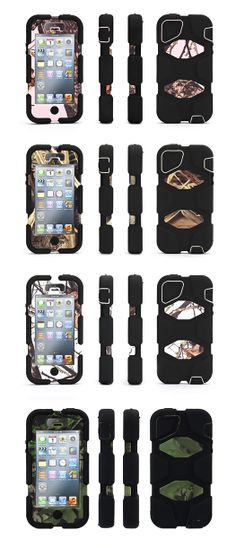 Durable Survivor Case from Griffin Technology covered in Mossy Oak camo for iPhone 5/5s