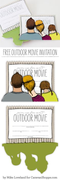 Free Printable: outdoor movie invitation