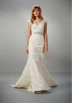 Elaborate A line Lace Straps Sleeveless Court Train Wedding Gown With Beading - 1300251403B - US$252.79 - BellasDress