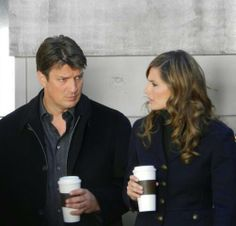 Castle and Beckett (Nathan Fillion and Stana Katic) drinking coffee... Fan confession: every time I see them drinking coffee, I pretend they are drinking tea because I prefer tea over coffee any day.