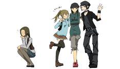 Gender-bender versions of Kyohei, Erika, Walker and Saburo. (Durarara!!)