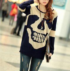 Blue sweater  knitwear cotton sweater large size knitted sweater autumn winter dress women knitted sweater loose long sweater coat  D6