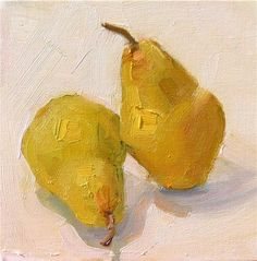 """Daily Paintworks - """"Two Pears,still life,oil on canvas,6x6,price$200"""" - Original Fine Art for Sale - © Joy Olney"""