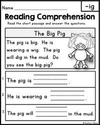 FREE Reading Comprehension Passages - Word Families & Blends by Kaitlynn Albani Reading Comprehension Worksheets, Reading Fluency, Reading Intervention, Reading Passages, Reading Skills, Guided Reading, Teaching Reading, Free Reading, Comprehension Strategies