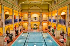 The 'green column bath' of Budapest – Rudas Thermal baths The beautiful building of Rudas bath made a name in the world of Hollywood movies as well, in 1988 the bath was used as a shooting place for. Wes Anderson, Beautiful Buildings, Hungary, Tourism, Spa, Bath, Mansions, House Styles, Places