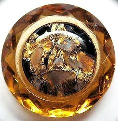 ANTIQUE BUTTON ~ FABULOUS GLASS IN GLASS FACETED GOLDEN YELLOW with GOLD FOIL.