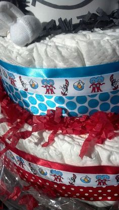 Close up of diaper cake for gifts table by Bumble Bee Creations