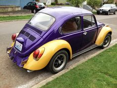 V-Dub Classic VW bug sports UW's Purple and Gold Photo by Marty	 Perlman