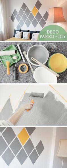 Tutorial DIY: Cómo pintar una pared siguiendo un patrón de diamantes geométricos - Bricolaje y manualidades en DaWanda.es