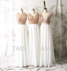 Hey, I found this really awesome Etsy listing at https://www.etsy.com/listing/237226206/sequin-chiffon-bridesmaid-dresses-rose