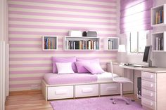 Contemporary Violet Theme for Interior : Violet Color Inspiration for Interior; with stripes violet pink wall decoration