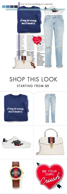 """Untitled #1191"" by gabi-sweet ❤ liked on Polyvore featuring Current/Elliott, Gucci and Yvng Pearl"