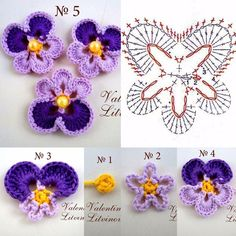 Crochet pansy by Auntie Cosmos Best 12 Lovely crocheted flower on a Japanese site – SkillOfKing. 15 diy crochet flower patterns 1001 crochet by – Artofit This Pin was discovered by Irm Heklanje plus – Artofit Crochet Diagram, Crochet Chart, Crochet Motif, Irish Crochet, Diy Crochet, Crochet Doilies, Crochet Top, Crochet Ideas, Crochet Flower Tutorial