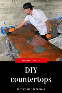 Epoxy Countertop Designs.  There are so many color options and techniques. You can get a look like white marble or a colorful countertop. The options are endless  Diy home project; diy project; diy countertops; resin; epoxy project; easy diy kitchen remodel; remodeling countertops; epoxy countertops; resin project; sanding epoxy resin; epoxy table