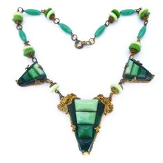 Vintage Signed Czech Art Deco Stepped Green Glass Bead Ornate Necklace | Clarice Jewellery | Vintage Costume Jewellery