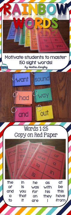 Rainbow Words are a fun and engaging way to practice SIGHT WORDS in the classroom and at home. Students work their way through each level words per color of the rainbow). Using these color coded cards students can differentiate their own word work time Teaching Sight Words, Sight Word Practice, Sight Word Games, Kindergarten Sight Words List, Sight Word Wall, Rainbow Words, Sight Word Activities, Preschool Activities At Home, Sight Word Flashcards
