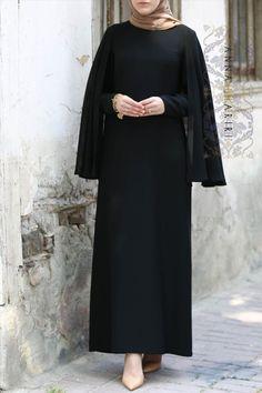 Cape Dress in Black cape dress cape dress long cape dress white cape dress pattern cape dress black cape dress mennonite cape dress zara Abaya Fashion, Modest Fashion, Fashion Dresses, Abaya Designs, Hijab Dress Party, Hijab Outfit, Hijab Mode Inspiration, Abaya Mode, Moslem Fashion