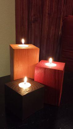 Custom Tea Light Wood Handmade Rustic Candle Holders Wedding Anniversary Centerpiece Solid Pine Pillar (Set of 3)