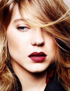 deep berry lip color.