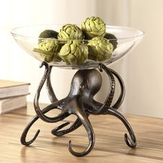 There is no question about this creature's ability to hold a bowl aloft. He's not even using all the arms available to him. Aluminum octopus base puts its head and tentacles to good use supporting a g...