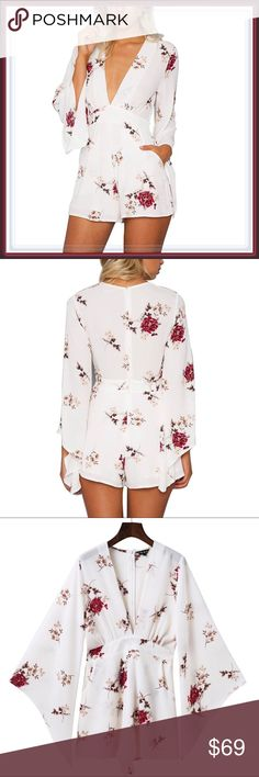 🆕 Falling Roses White Bell Sleeve Romper ➖SIZE: Small, Medium, Large  ➖STYLE: A white wide sleeve V neck Floral Rose romper   ❌NO TRADE   224687 Pants Jumpsuits & Rompers