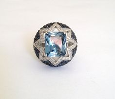 Vintage Blue Topaz and Pave Two Tone Estate by WOWTHATSBEAUTIFUL