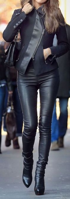 Leather. #style #fashion #inspiration #outfit #casual #chic #work #office #formal #smart #business #simple #travel #airport