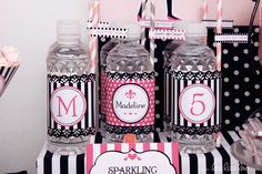 Pretty drinks at a Paris girl birthday party!   See more party ideas at CatchMyParty.com!